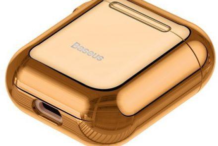 Baseus Baseus Shining hook | Etui case pokrowiec sylikonowy błyszczący na obudowę słuchawek Airpods 1 / 2 | złoty ARAPPOD-A0V