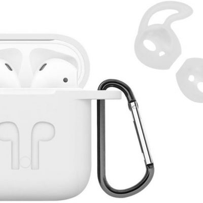 Apple Etui do AirPods silikonowe białe + nakładki earhooks 03137 (031374)