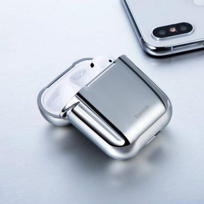 Baseus Baseus Shining hook   Etui case pokrowiec sylikonowy błyszczący na obudowę słuchawek Airpods 1 / 2   srebrny ARAPPOD-A0S
