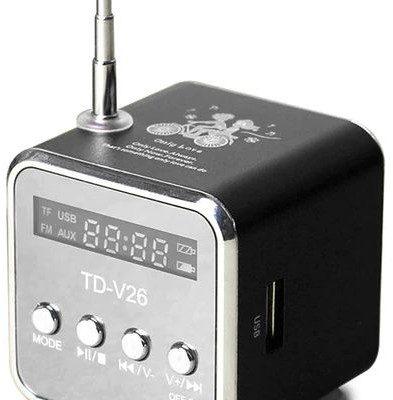 DexXer PRZENOŚNE RADIO FM GŁOŚNIK MP3 AKUMULATOR USB AUX - Czarny