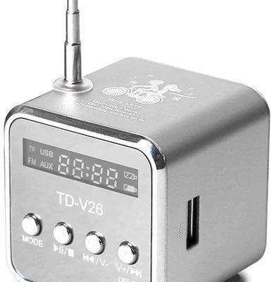 DexXer PRZENOŚNE RADIO FM GŁOŚNIK MP3 AKUMULATOR USB AUX - Srebrny