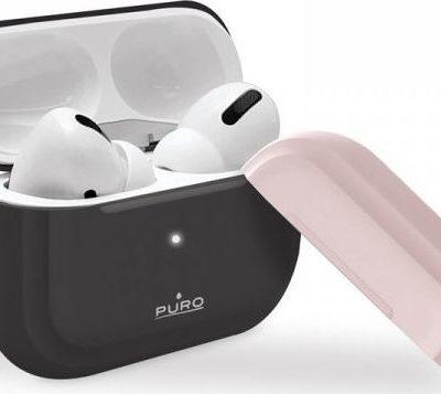 Puro PURO ICON Case Etui Airpods Pro z dodatkową osłonką Dark Grey + Dark Grey Cap and Pink Cap