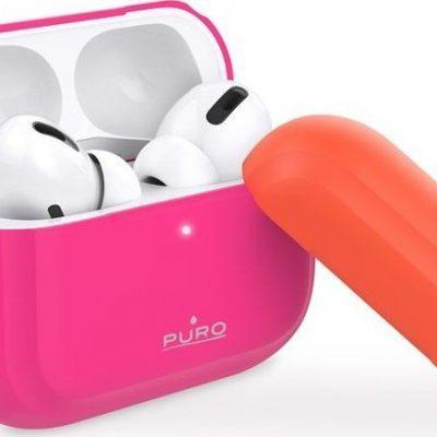 Puro PURO ICON Fluo Case Etui do Airpods Pro z dodatkową osłonką Fluo Fuchsia + Fluo Orange Cap uniwersalny 67934-uniw