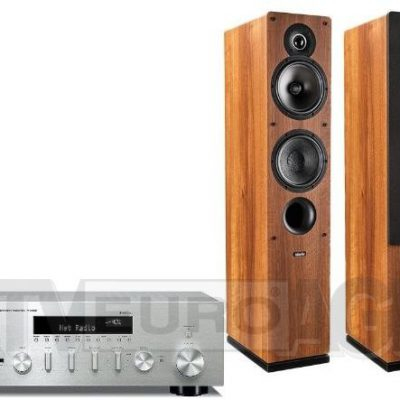 Yamaha MusicCast R-N602 srebrny Indiana Line Tesi 561 orzech (RN602D-S+TESI561W)